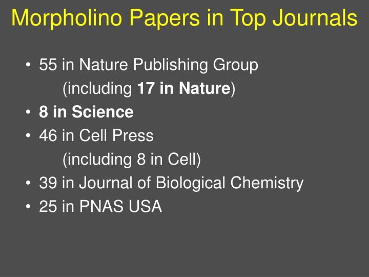 Morpholino Papers in Top Journals