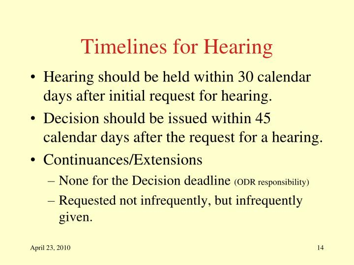 Timelines for Hearing
