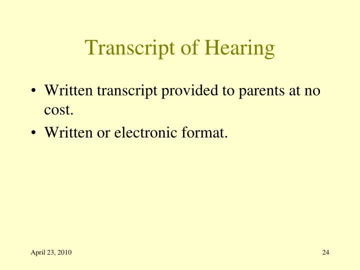 Transcript of Hearing