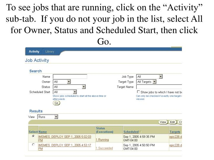 "To see jobs that are running, click on the ""Activity"" sub-tab.  If you do not your job in the list, select All for Owner, Status and Scheduled Start, then click Go."