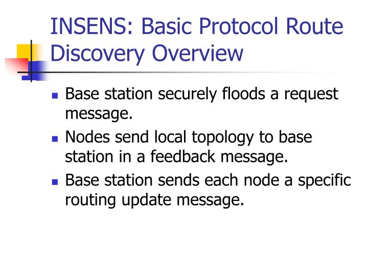 INSENS: Basic Protocol Route Discovery Overview