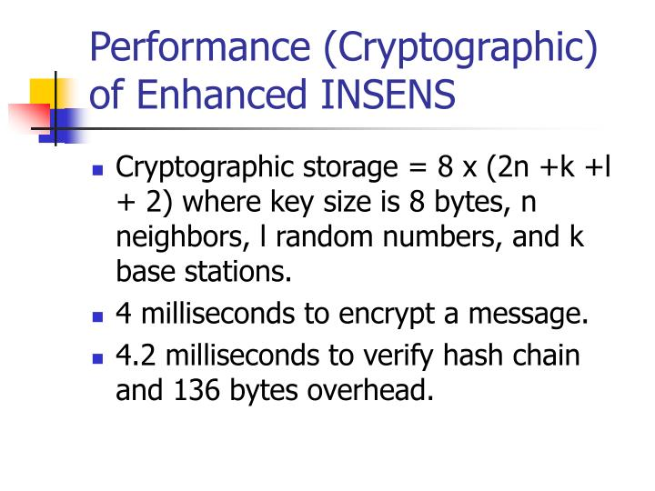 Performance (Cryptographic) of Enhanced INSENS