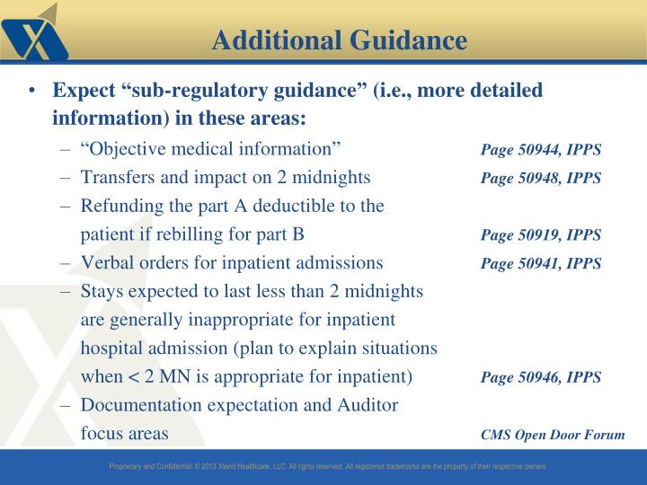 "Expect ""sub-regulatory guidance"" (i.e., more detailed information) in these areas:"