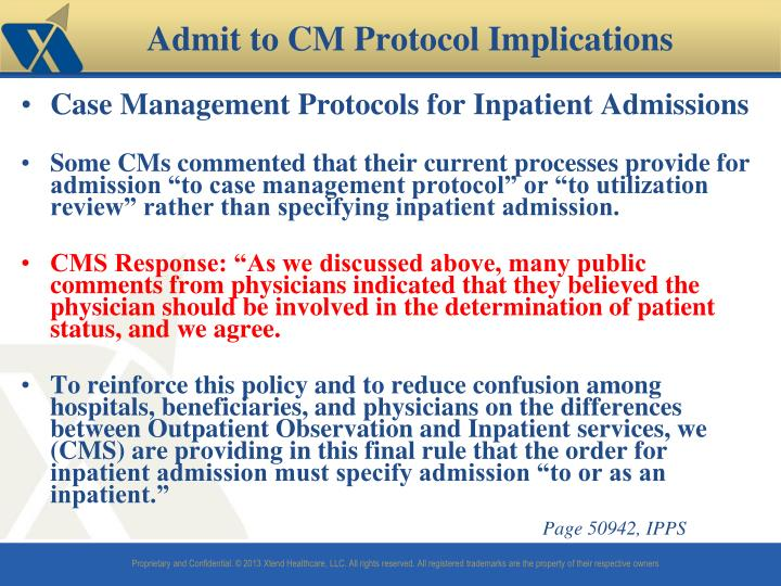 Case Management Protocols for Inpatient Admissions