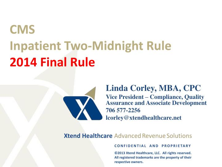 Cms inpatient two midnight rule 2014 final rule