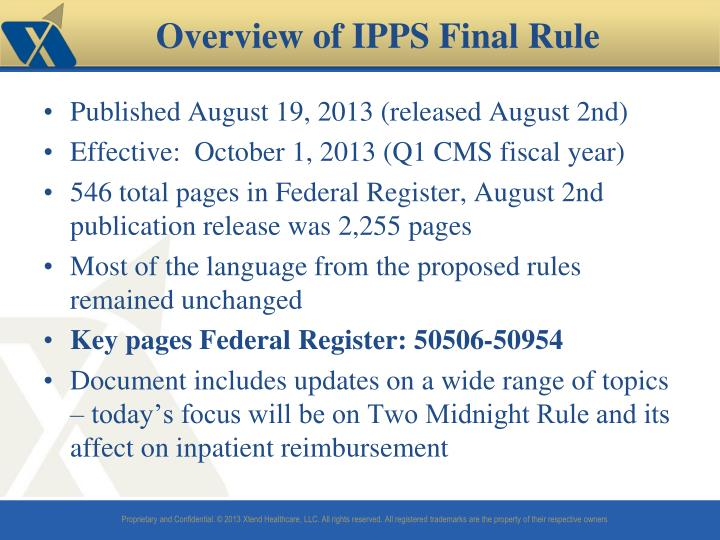 Overview of ipps final rule