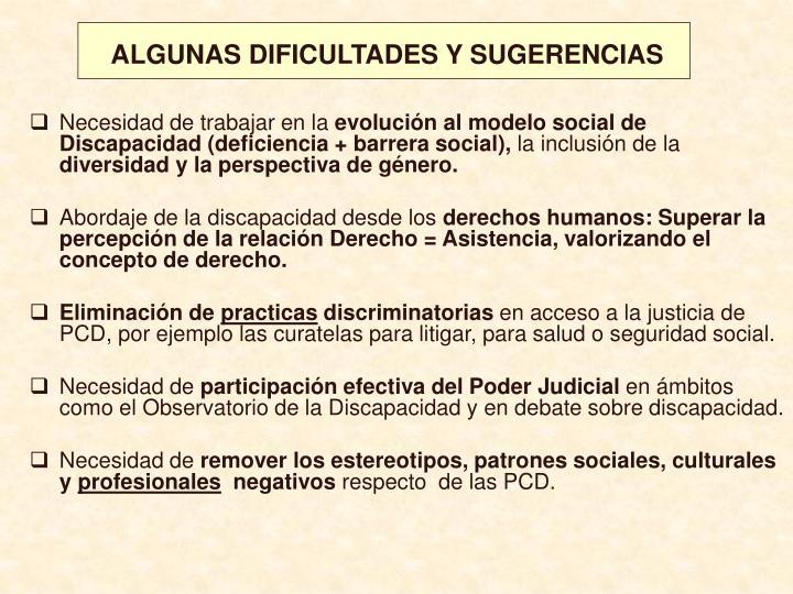ALGUNAS DIFICULTADES Y SUGERENCIAS