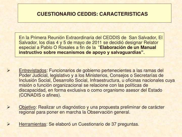 CUESTIONARIO CEDDIS: CARACTERISTICAS