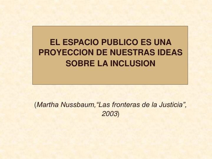 EL ESPACIO PUBLICO ES UNA PROYECCION DE NUESTRAS IDEAS SOBRE LA INCLUSION