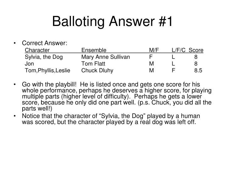 Balloting Answer #1