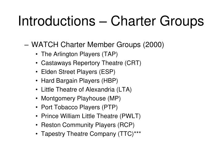 Introductions – Charter Groups