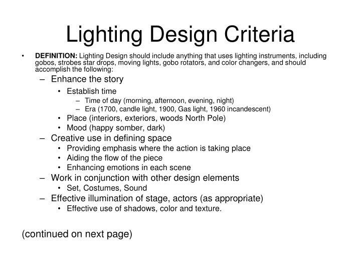 Lighting Design Criteria