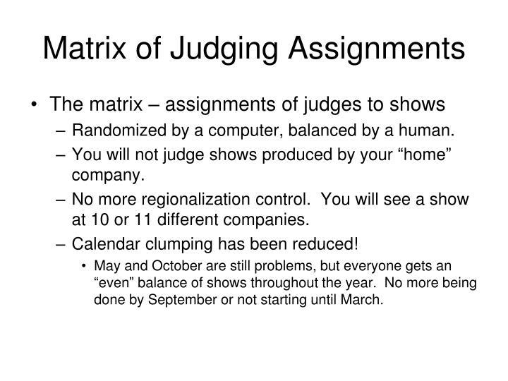 Matrix of Judging Assignments