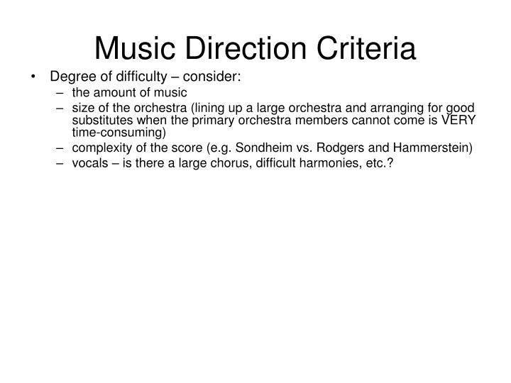 Music Direction Criteria