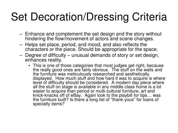 Set Decoration/Dressing Criteria