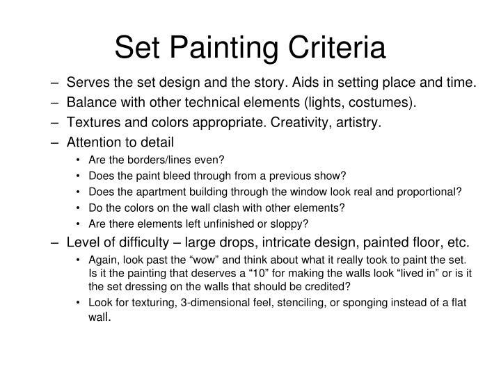 Set Painting Criteria
