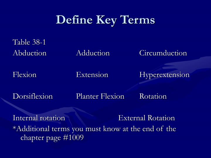 Define Key Terms