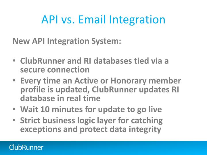 API vs. Email Integration