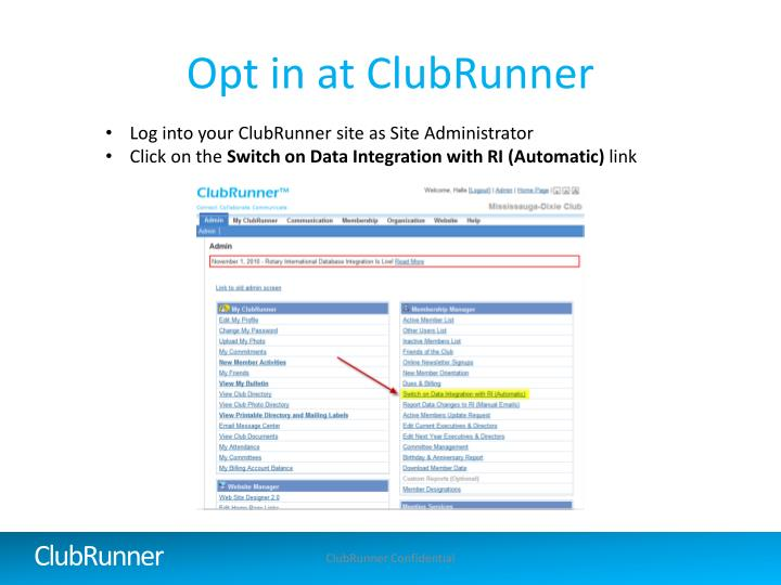 Opt in at ClubRunner