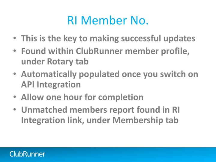 RI Member No.
