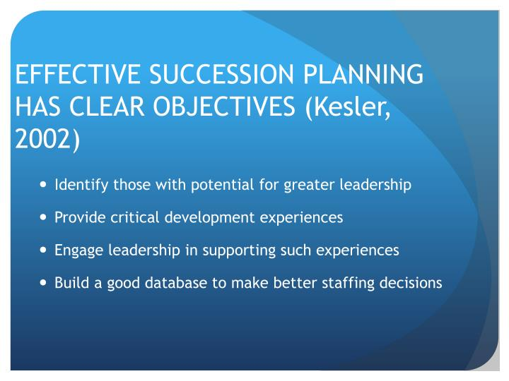 EFFECTIVE SUCCESSION PLANNING HAS CLEAR OBJECTIVES (