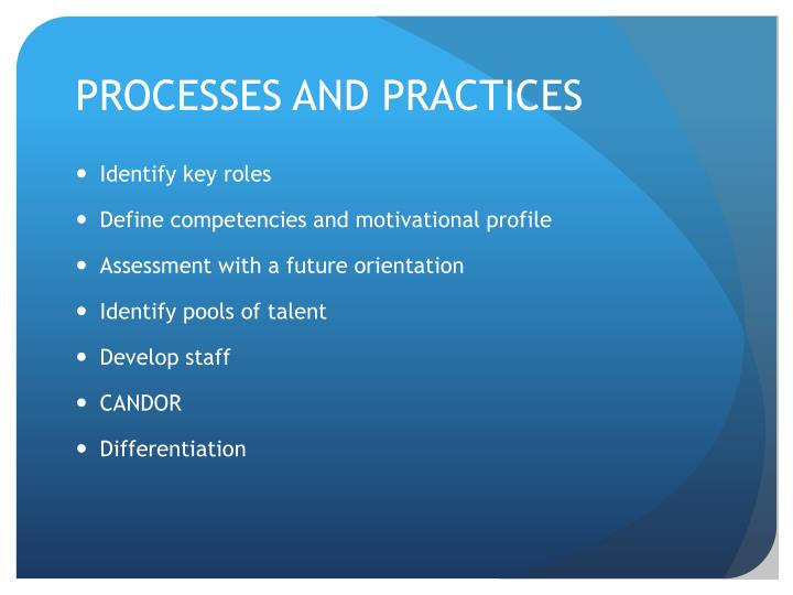 PROCESSES AND PRACTICES