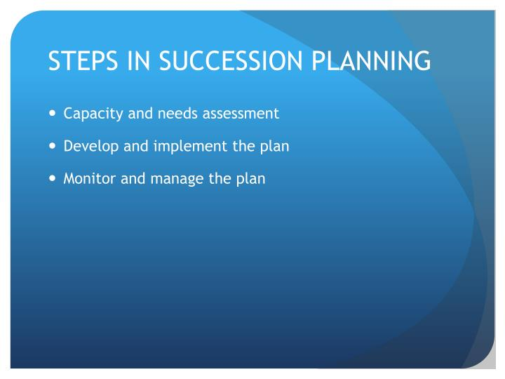 STEPS IN SUCCESSION PLANNING