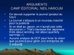 arguments camp ditorial neil harcum
