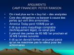 arguments camp financier peter rawson