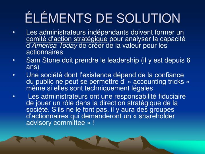ÉLÉMENTS DE SOLUTION