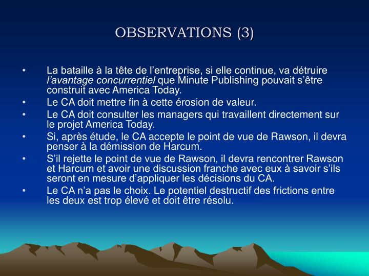 OBSERVATIONS (3)