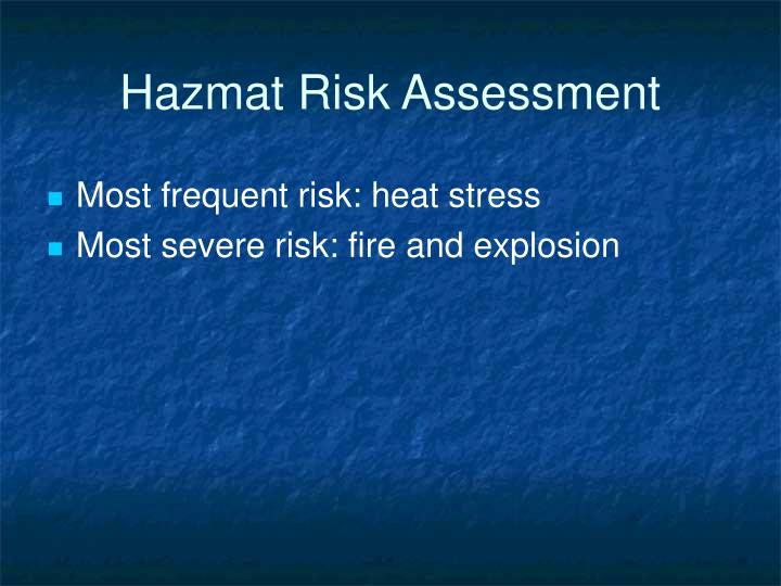 Hazmat Risk Assessment