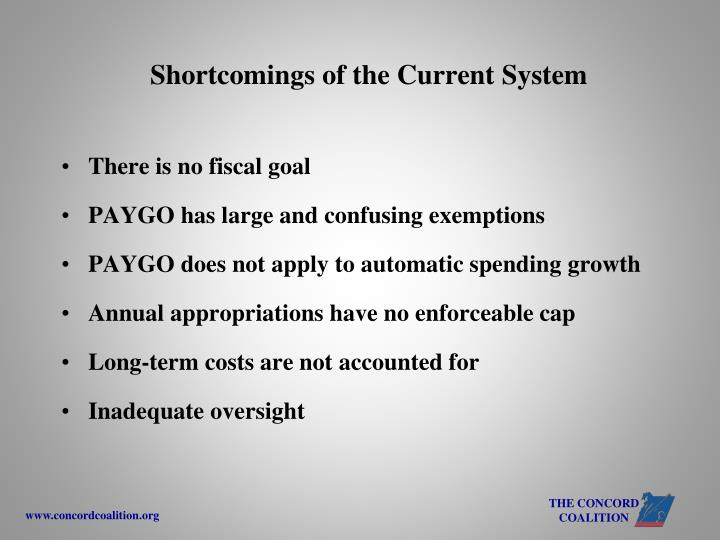 Shortcomings of the Current System
