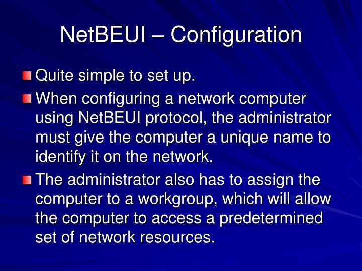 NetBEUI – Configuration