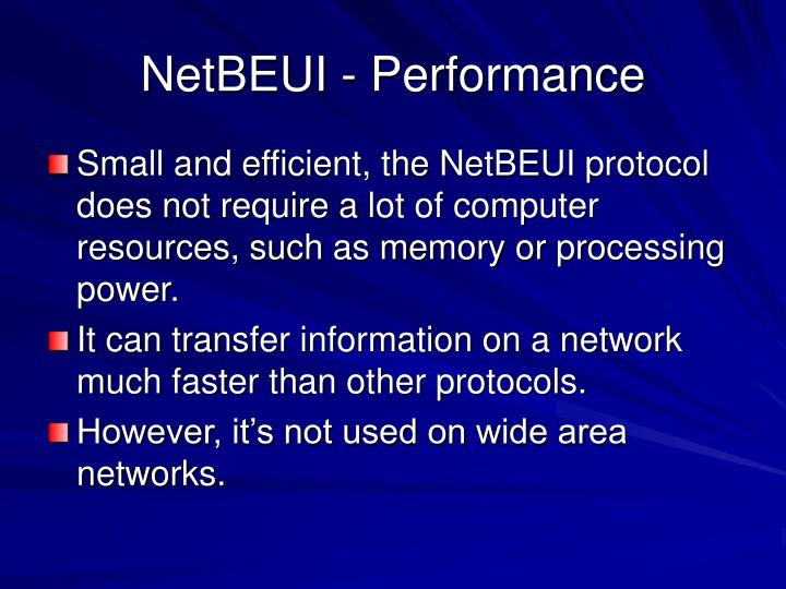 NetBEUI - Performance