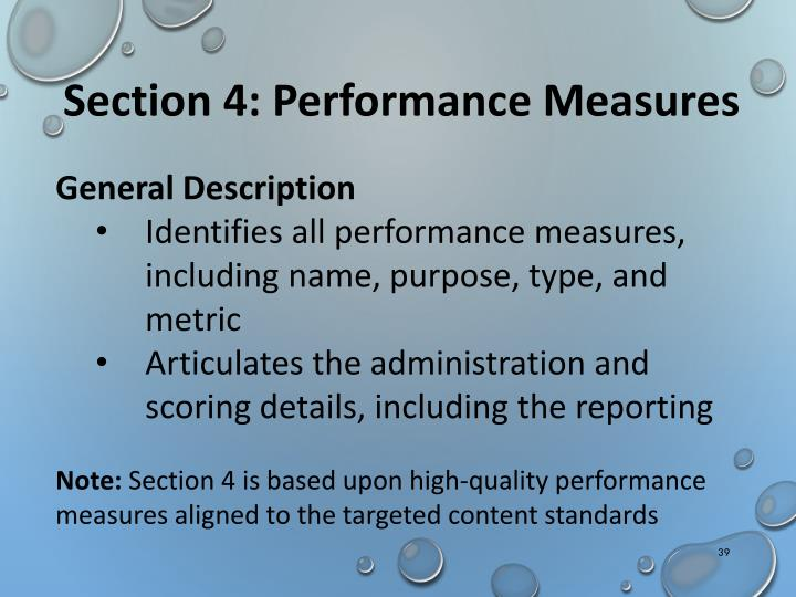 Section 4: Performance Measures