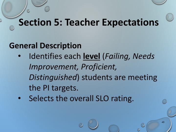 Section 5: Teacher Expectations