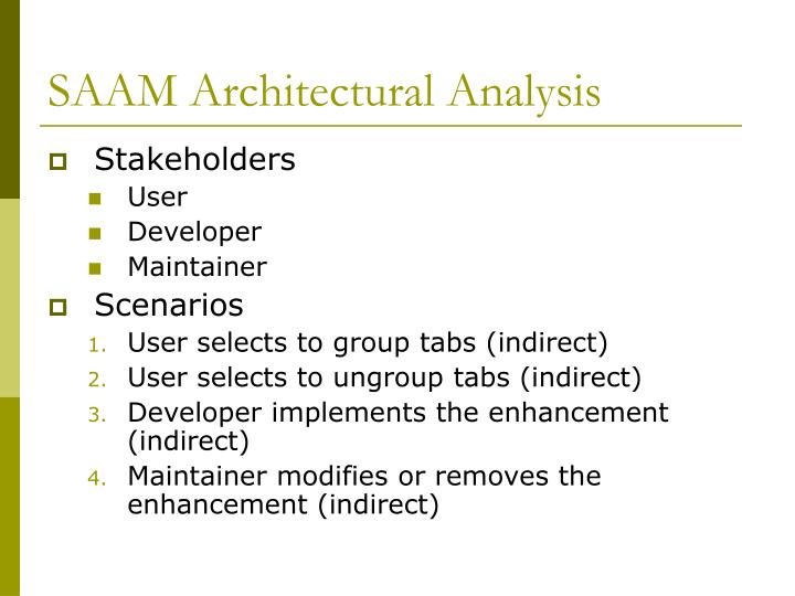 SAAM Architectural Analysis