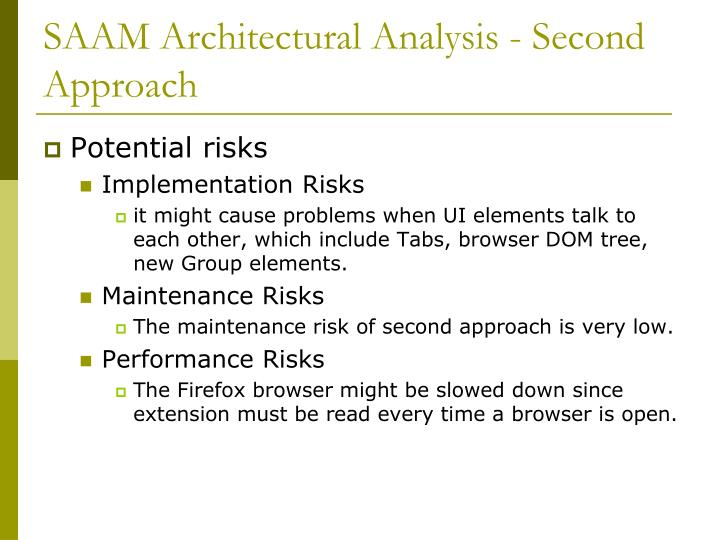 SAAM Architectural Analysis - Second Approach