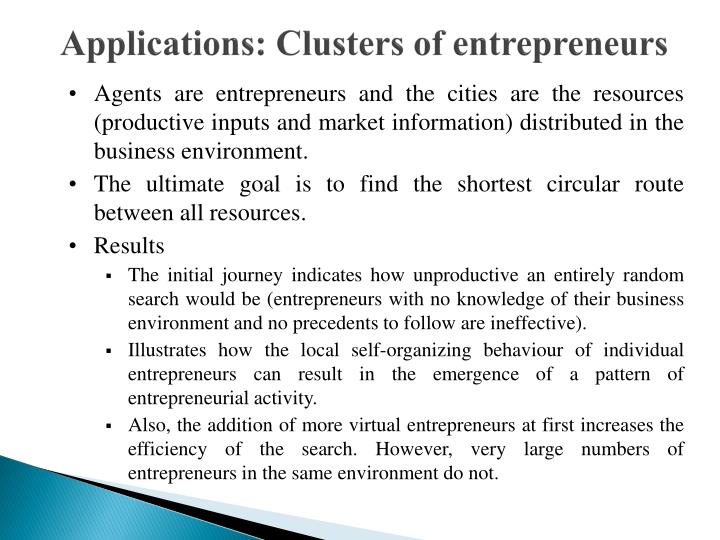 Applications: Clusters of entrepreneurs