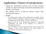 applications clusters of entrepreneurs