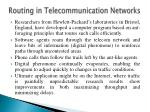 routing in telecommunication networks