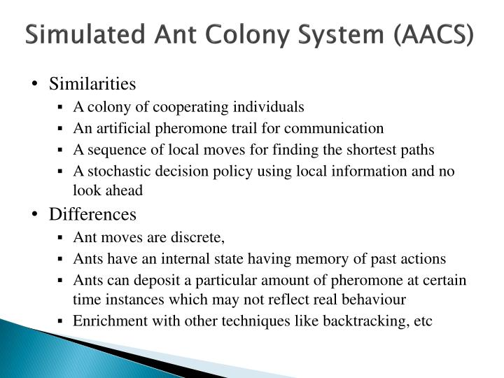 Simulated Ant Colony System (AACS)