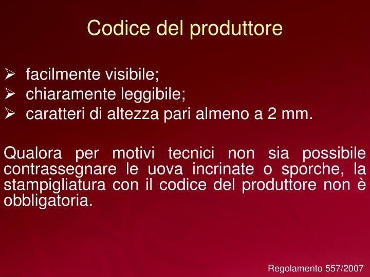 Codice del produttore