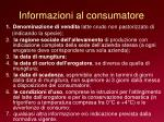 informazioni al consumatore