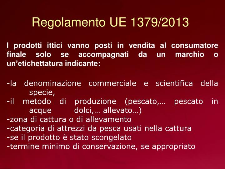 Regolamento UE 1379/2013