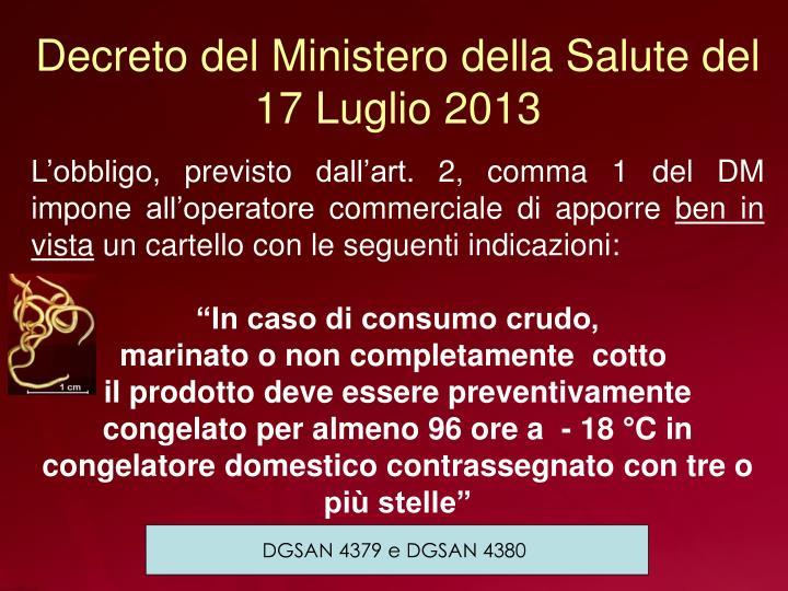 Decreto del Ministero della Salute del 17 Luglio 2013