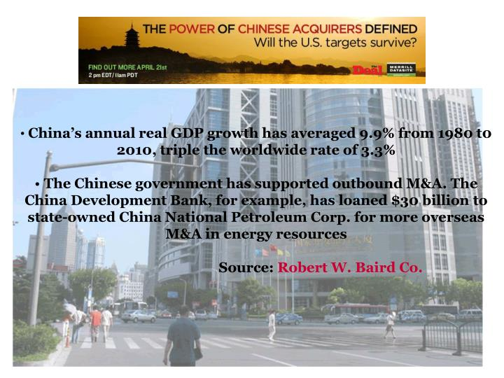 China's annual real GDP growth has averaged 9.9% from 1980 t0 2010, triple the worldwide rate of 3.3%