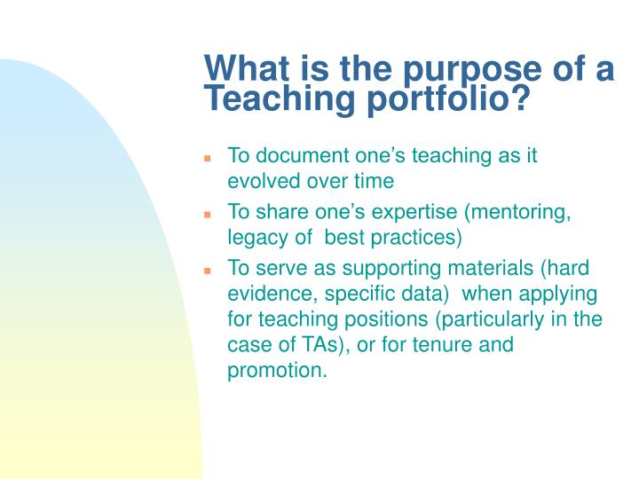 What is the purpose of a Teaching portfolio?
