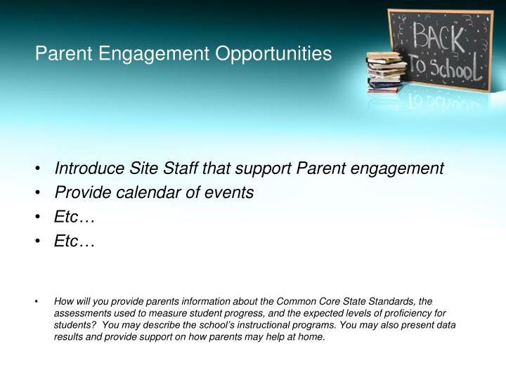 Parent Engagement Opportunities